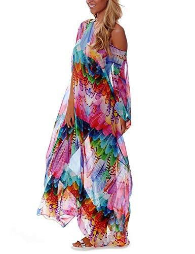 Bsubseach Plus Size Swimsuit Cover Up for Women Colorful Print Chiffon Half Sleeve Swimwear Beach Caftan Dress