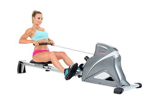Sunny Health & Fitness Ultra Tension Magnetic Pro Rower, Grey