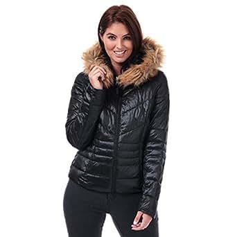 Vero Moda Womens Soraya SIV Faux Fur Trim Jacket in Black.