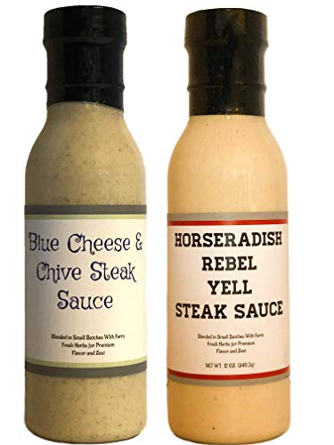 (Premium | STEAK SAUCE Variety 2 Pack | Horseradish Rebel Yell Steak Sauce | Blue Cheese & Chive Steak Sauce | Crafted in Small Batches with Farm Fresh INGREDIENTS for Premium Flavor and Zest)