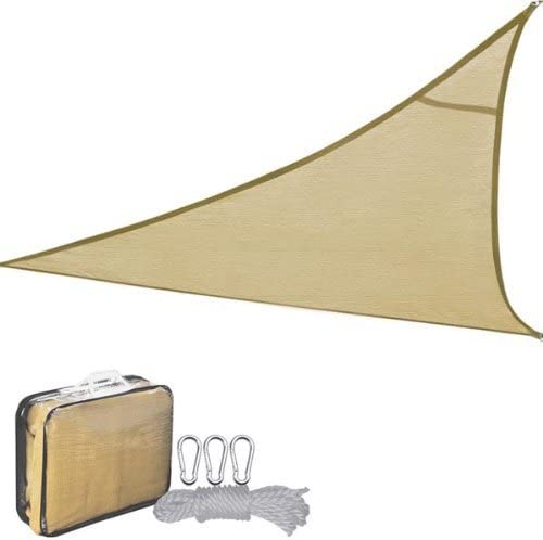 New Leaf Triangle Sun Shade Sail Mesh Tarp for Outdoor Patio Pools 16.5, Desert Sand
