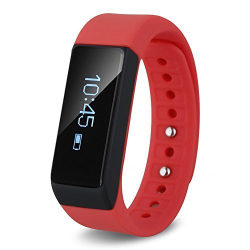 LENDOO I5 Plus Smart Bracelet Fitness Tracker Sport Wrist Bluetooth 4.0 Pedometer Tracking Calorie Health Sleep Monitor Wristband for Android IOS Phones (red)