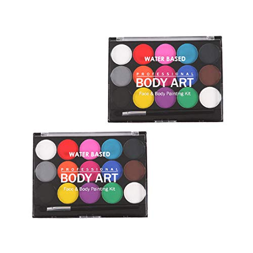 Fityle 2 Sets Professional 15 Colors Water Based Face Body Paint Brushes Party Makeup