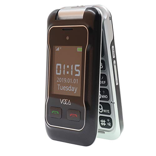 VOCA V530 Unlocked 3G Senior Flip Cell Phone Big Button Hearing Aid Compatible Black