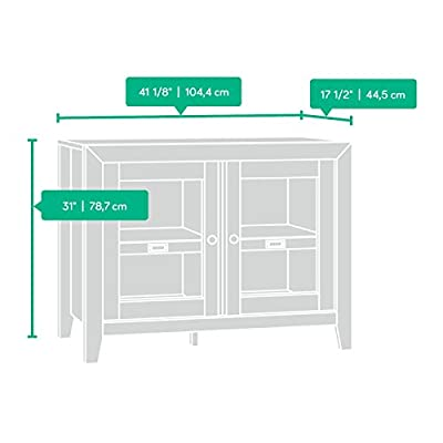"Sauder Dakota Pass Display Cabinet, Craftsman Oak finish - Accommodates up to a 42"" TV weighing 50 lbs. or less Adjustable shelf behind each framed, safety-tempered glass door Accommodates ID label tags - tv-stands, living-room-furniture, living-room - 413%2BMbG1fYL. SS400  -"