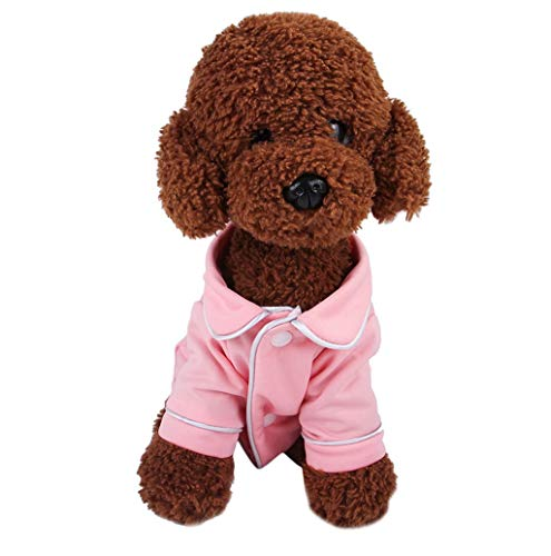 Pet Sweater,JHKUNO Puppy Lapel Cotton Button Candy Color Sweet Pajamas Fleece Bathrobe Sleepwear Pet Sweet Clothing Pink