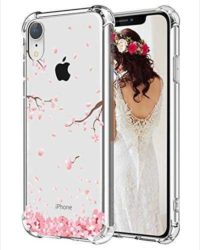 (Hepix Floral iPhone XR Case Cherry Blossom Clear XR Cases, Soft Flexiable Protective Cover Cases TPU Frame Anti-Scratch Shock Absorbing Case with Reinforced Bumper for iPhone XR (2018) 6.1