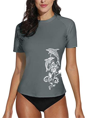 BesserBay Rash Guard for Womens Short Sleeve Rashguard UV Protection UPF 50+ Surf Suit Grey S