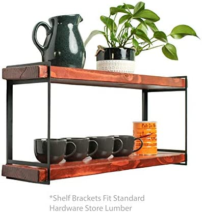 2 Tier Industrial Heavy Duty Black Floating Shelf Brackets Metal steel shelving hanging bracket for storage, bookshelf and stacking shelf Wall mounted decorative shelves for living room, bathroom