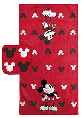 Mickey Mouse Bath Towels - Jay Franco Disney Mickey Mouse Super Soft & Absorbent Kids 2 Piece Bath Towel & Washcloth Set - Fade Resistant Cotton Terry Towel Set (Official Disney Product)