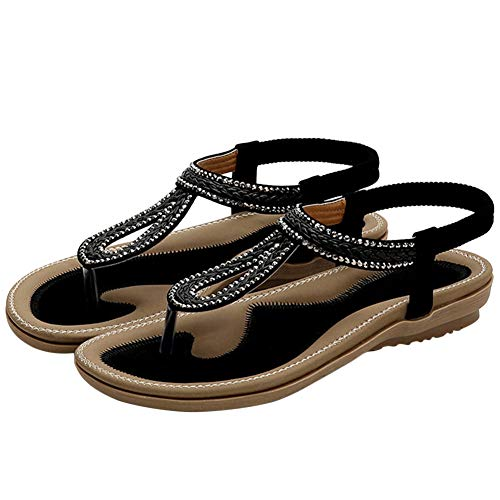 (BIGTREE Womens Wrap Sandals Strappy Bohemian Mini Wedges Beads Soft Sole Elastic Flats Sandals Black 8)