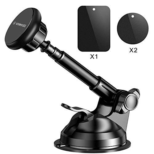 VANMASS Magnetic Phone Car Mount, Hands-Free Universal Phone Holder for Car Dashboard and Windshield, 360° Rotation with 6 Strong Magnets and Metal Telescopic Arm, Compatible with 3.5-7 Phone