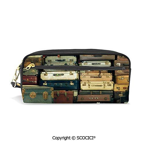 - Fasion Pencil Case Big Capacity Pencil Bag Makeup Pen Pouch Colorful Vintage Suitcase Antique Leather Decorative Travel Gift Map Nostalgia Durable Students Stationery Pen Holder for School