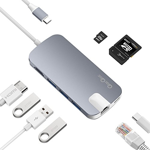 USB C HUB Adapter 8-in-1 QacQoc GN30H Aluminum MultiPort TYPE C HUB with 4K HDMI (30Hz),Type-C Pass Through Charging on PD,Ethernet,SD/Micro Card Reader,and 3 USB 3.0 Ports (Space Gray)