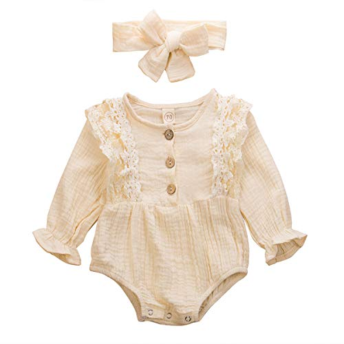 fhutpw Baby Girls Romper Bodysuit Jumpsuit Solid Color Long Sleeve Ruffled Lace Floral Newborn Autumn Outfit