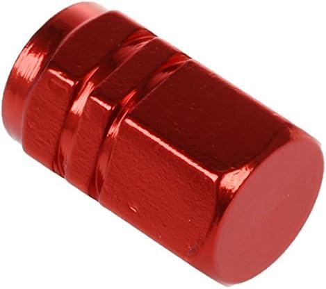 REFURBISHHOUSE 4x 六角形合金 7mmスレッドのカータイヤタイヤ バルブステムキャップカバー ワインレッド