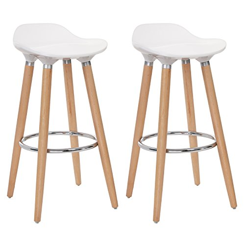 SONGMICS Set of 2 Bar Stools, Kitchen Counter Bar Breakfast Barstool, with Beechwood Legs, Height 28.8', White and Natural Wood Colour ULJB20W ()