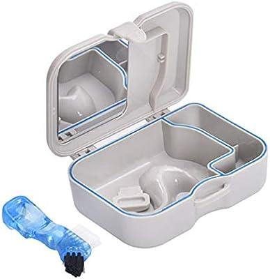 EXCEART Caja de Dentadura Caja de Baño de Dentadura Retenedor de Ortodoncia Dental con Cepillo Y Espejo: Amazon.es: Salud y cuidado personal