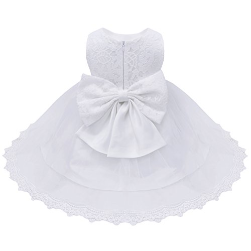 New Girls Christening Baptism Dress - YiZYiF Baby Girls' Party Formal Pageant Christening Flower Dress (9-12 Months, White)