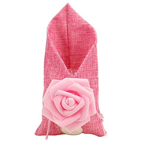 (Timoo Burlap Bags, 20 Pcs Favor Drawstring Bags Jewelry Storage Pouch with Rose for Wedding Bridal Shower Birthday Party DIY Craft, 3.74 x 6.89 Inch)