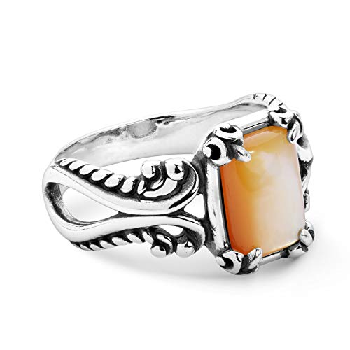 Gold Mother of Pearl Gemstone Ring - Size 07
