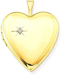 IceCarats 1/20 Gold Filled 20mm Diamond Heart Locket Necklace That Holds Pictures