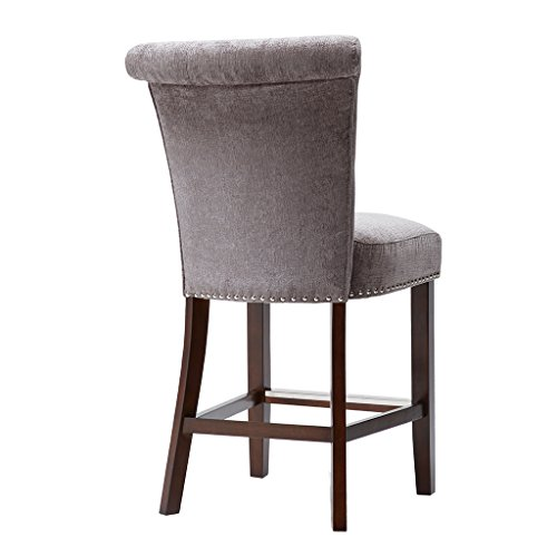 Madison Park Colfax Bar Stools - Solid Wood, Textured Fabric Kitchen Stool - Purple Grey, Modern Classic Style Bar Height Stools - 1 Piece Button Tufted, Silver Nail Head Bar Furniture For Home