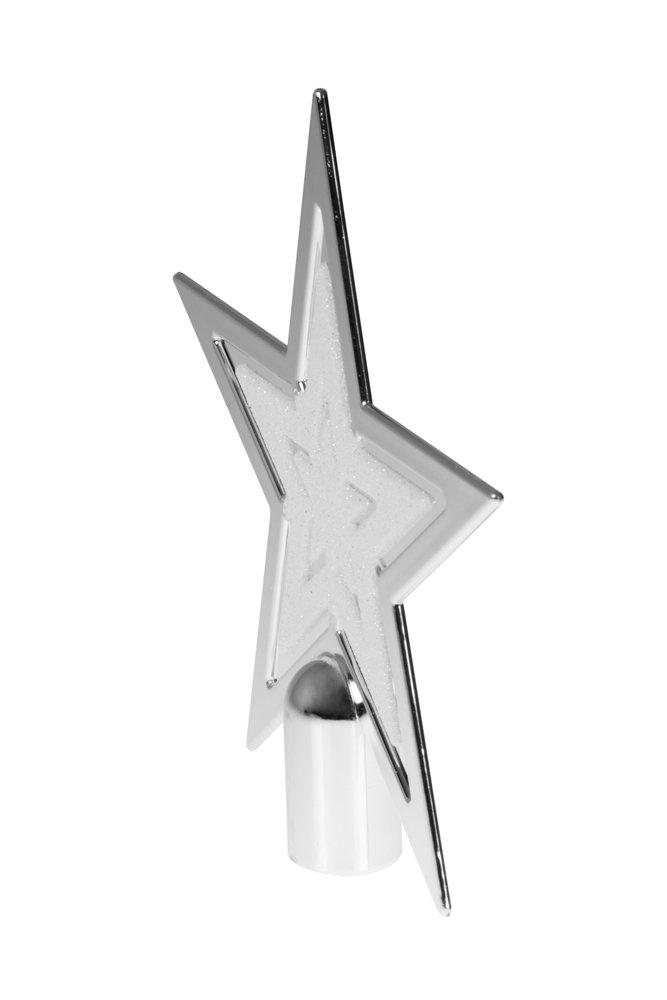 Bianco con Brillantini Puntale per Albero di Natale Clever Creations Decorazione Natalizia a Forma di Stella in plastica infrangibile 20 cm