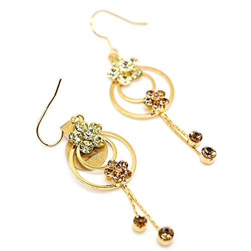 CatstoneNYC Crystal Flower Dangle Earrings for Women, Gold Plated Five Petal Flowers Double Loops Earrings for Her, Best for Birthday, Valentine's Day, Mother's Day