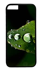 Plant close up leaf water drops PC Black Hard Case for Apple iPhone 6(4.7 inch)
