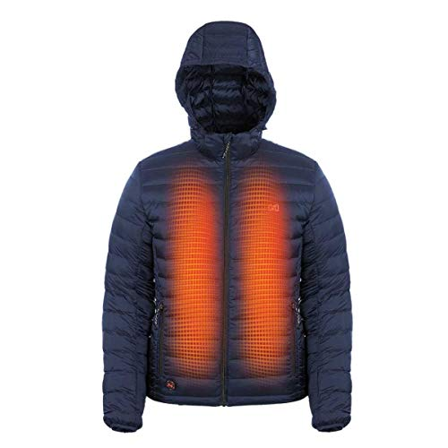 Mobile Warming Men's Ridge Bluetooth Battery Heated Down Jacket (12V), Dark Navy, Medium
