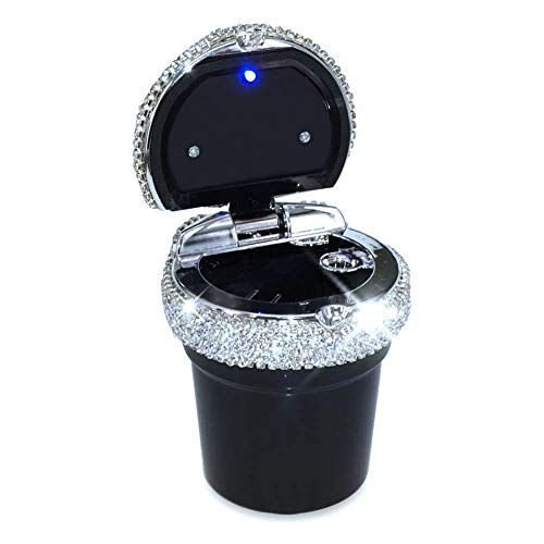 eing Car Cigarette Ashtray with Blue LED Light Indicator Portable Bling Smokeless Cylinder Cup Holder for Most Vehicles,Black
