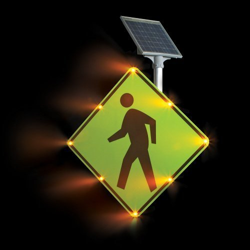 - Tapco W11-2 BlinkerSign Diamond Solar Pedestrian Crossing Sign with 8 Fluorescent Yellow Green Flashing LEDs, 30