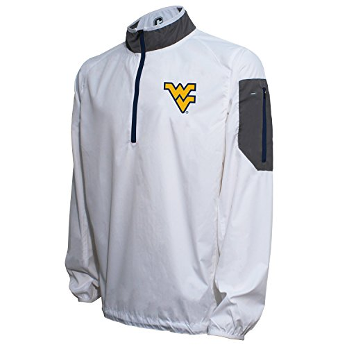 Crable NCAA West Virginia Mountaineers Men's Lightweight Windbreaker Pullover, White/Navy, X-Large