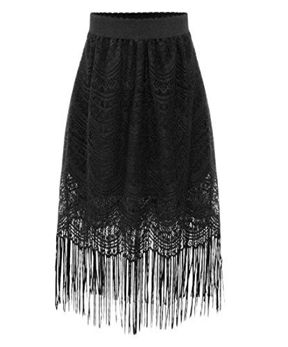 Abetteric Women's Loose Fit Lace Solid Color Fringe Pencil Long Skirt Black XL