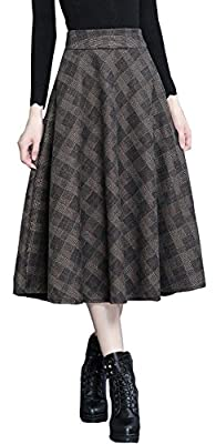 Vocni Women Plaid A-Line Flared Vintage Lined Zipper Lined Wool Blend Long Skirts