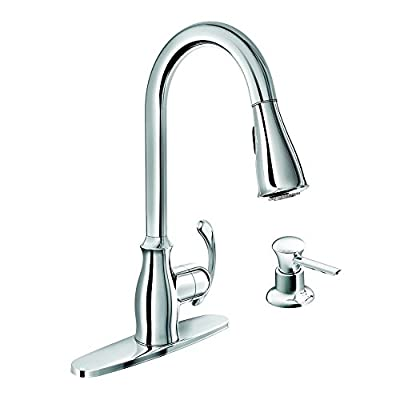 Moen 87910 Pullout Spray High-Arc Kitchen Faucet with Soap Dispenser from the Kipton Collection, Chrome