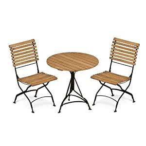 Grenen Garden Set teak/frame dark green/2 chairs + 1 table Ø 75cm