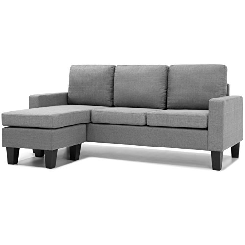 Best Choice Products Multifunctional Linen 3-Seat L-Shape Sectional Sofa Couch w/Reversible Chaise Ottoman - Gray