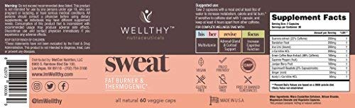 Wellthy Sweat - All Natural - Fat Burner - Thermogenic - Increase Calorie Burn - 60 Vegetarian Capsule