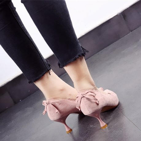 Pointed Heels Head Leisure Single Heel Spring Work MDRW Bow Elegant 7Cm Suede Fine Shallow Pink Shoes 34 Lace Tie Lady qW1PwBBXg