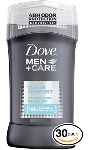 (PACK OF 30 STICKS) Dove MEN+CARE Clean Comfort Dry Solid Stick Antiperspirant & Deodorant. 48 HOUR ODOR PROTECTION! Non-Irritant! (30 Sticks, 2.7oz each Stick) by Dove