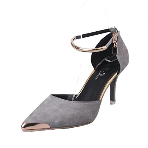 Sonnena Womens Ladies High Block Heel Cuff Ankle Strap Buckle Pointed Court Shoes Pumps Sandals Gray