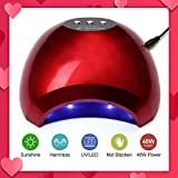 NATPLUS Red Nail Dryer 48W UV LED Nail Curing Lamp Light for Soak