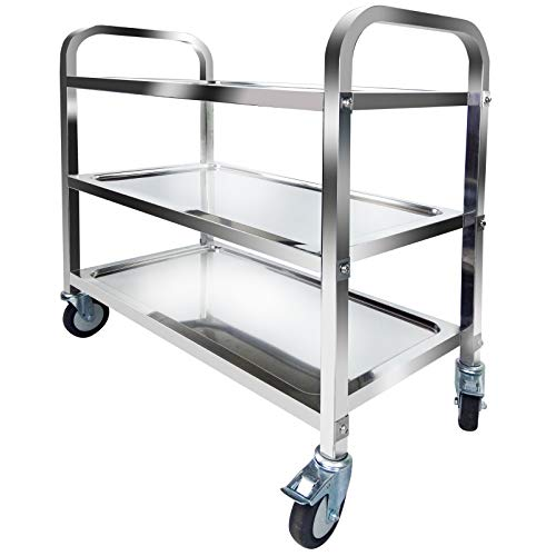 3 Tier Stainless Steel Utility Cart Trolley Shelf Kitchen Utility Service Cart Catering Storage Cart with Locking Wheels…