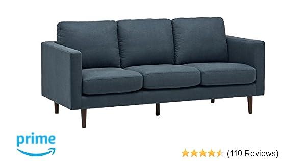 "Amazon Rivet Revolve Modern Sofa 80""W Denim Kitchen & Dining"