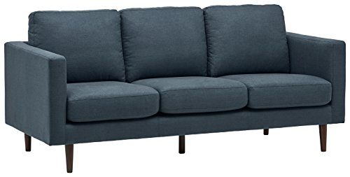 "Rivet Revolve Modern Upholstered Sofa with Tapered Legs, 79.9""W, Denim"