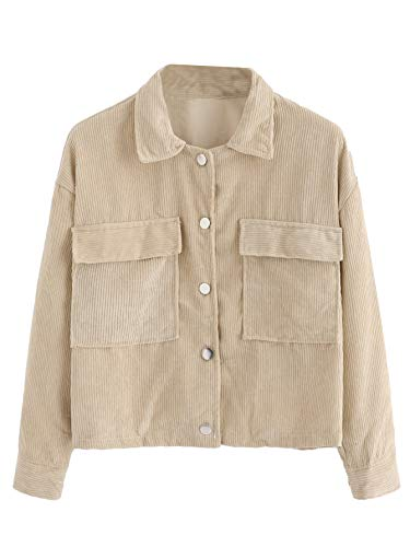 Women Jacket Corduroy - Milumia Women's Dual Pocket Corduroy Solid Jacket Single Breasted Coat Outer Tops Khaki L