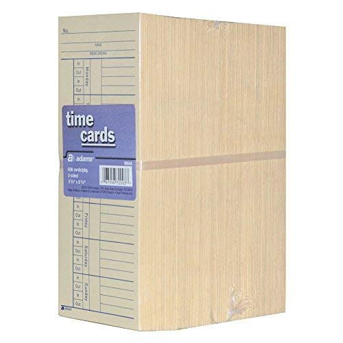 Tops 1260 Weekly Time Card, 2-Sided, 3-3/8