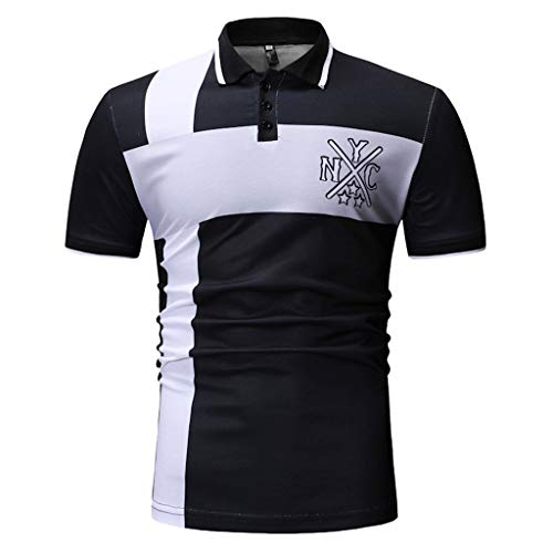 (Simayixx Shirts for Men Big Deals, Men's Casual Black White Patchwork Long Sleeve T Shirt Slim Fit Tops Business Blouse)